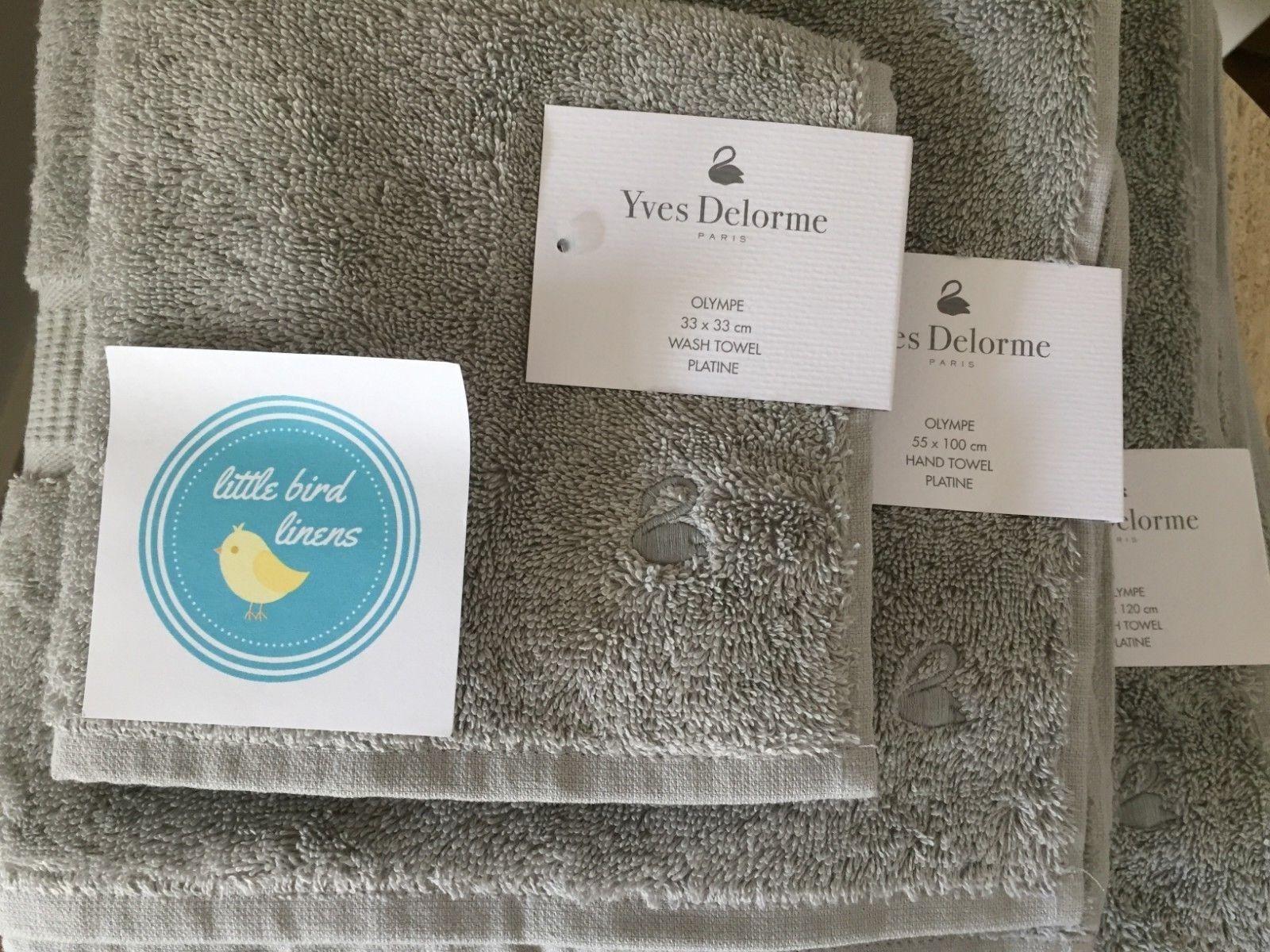 3pc Yves DeLorme Olympe Platine Platinum Towel set- Bath Hand Facecloth-New Rare