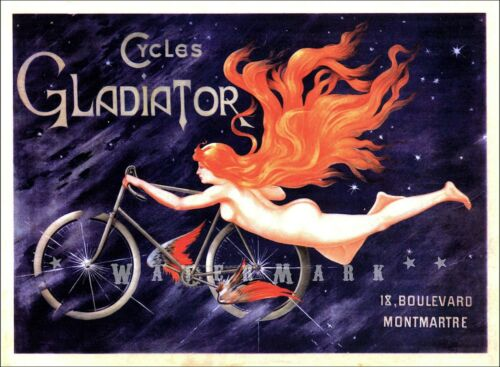 Cycles Gladiator 1905 French Bicycle Advertising Vintage Poster Print Montmartre