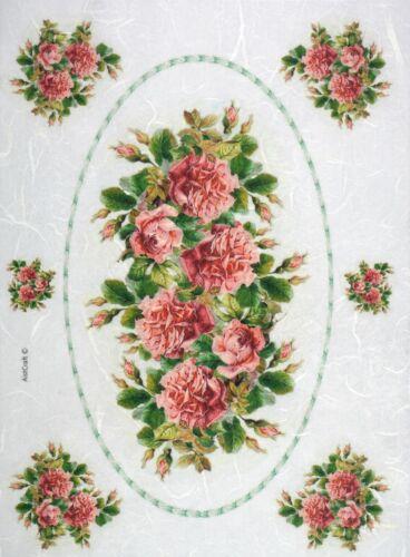Papel De Arroz Para Decoupage Scrapbook Craft Hoja Rosas Rojas En Marco