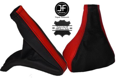 Noir et rouge de vitesse en cuir /& Frein à Main Guêtres fits vauxhall corsa c MK11 combo