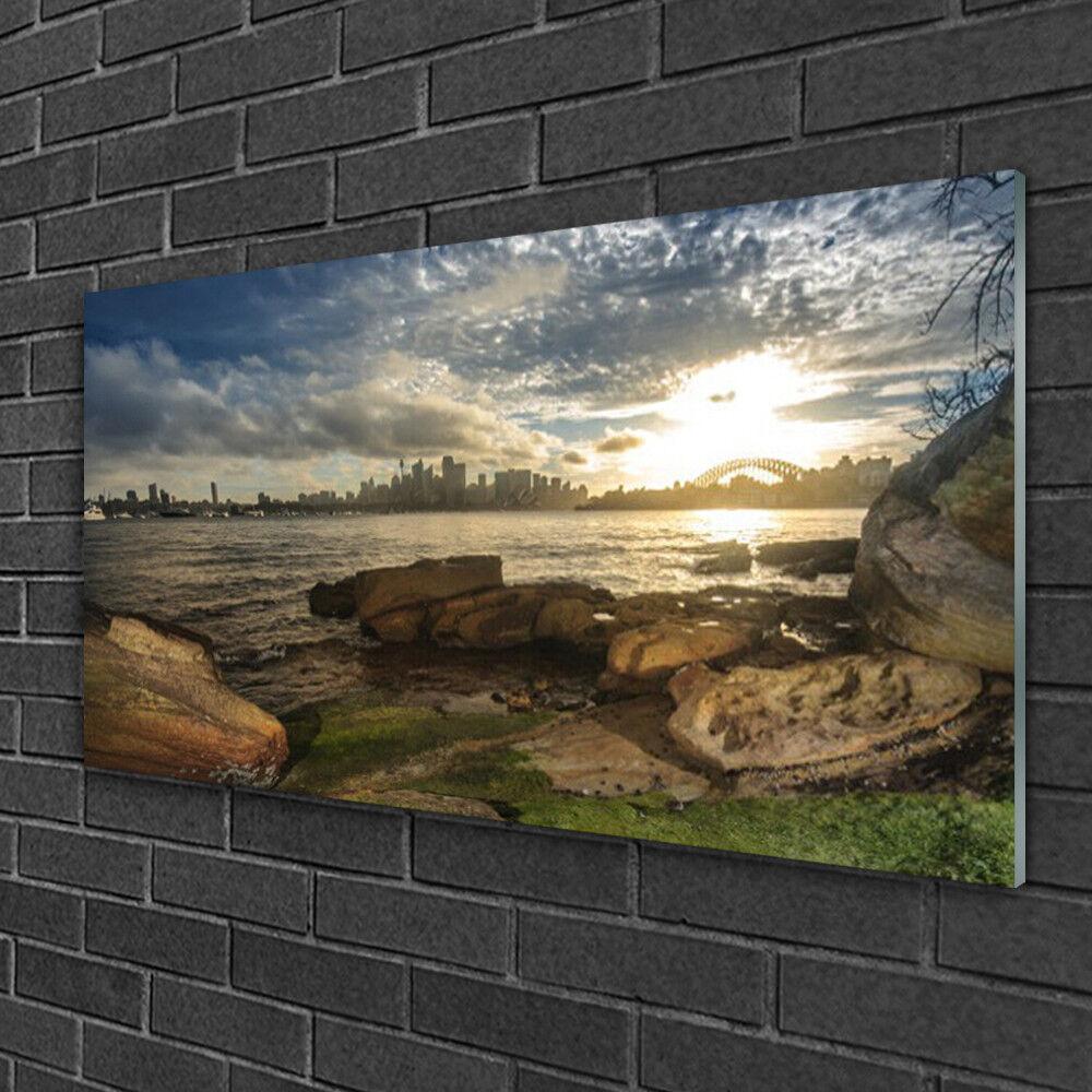 Tableau sur verre Image Impression 100x50 Paysage Mer Pierres Ville