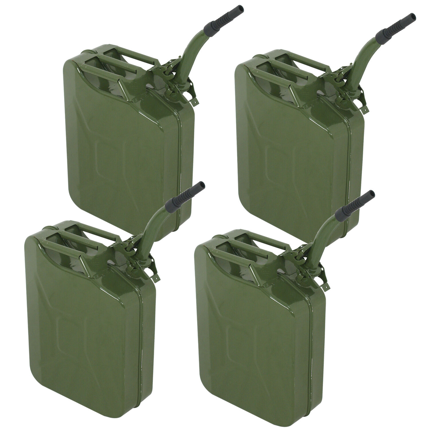 4PC 5 Gallon Military Style Jerry Green Can Fuel Storage Steel Fuel Tank 20L Business & Industrial