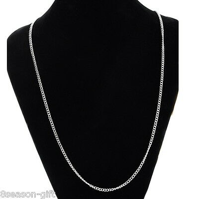 1PC Stainless Steel 2.1mm Silver Tone Curb Chain Necklace 51.6cm