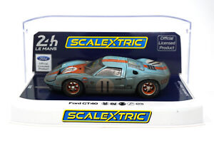 Scalextric-C4106-Ford-GT40-Gulf-11-Weathered-24-Hours-Le-Mans-039-68-1-32-Slot-Car