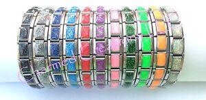 9mm-Italian-Charm-Starter-Bracelet-Glitter-Band-Stainless-Modular-Links-Shimmer