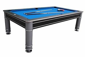 Image Is Loading 8 FOOT POOL TABLE In BLACK Amp SILVER