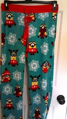 Humorous Despicable Me Minion's Juniors Women's Small Winter Fleece Pajama Bottoms Sleepwear & Robes