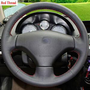 New-DIY-Sewing-on-PU-Leather-Steering-Wheel-Cover-Exact-Fit-For-Peugeot-207