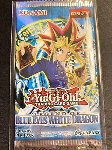 Yugioh Legend of Blue Eyes White Dragon LOB Booster Pack w/ CUSTOM SEALED SLEEVE