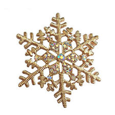 Amazing Shiny Gold Rhinestones Snowflake Brooch Pin Christmas Gift BR302