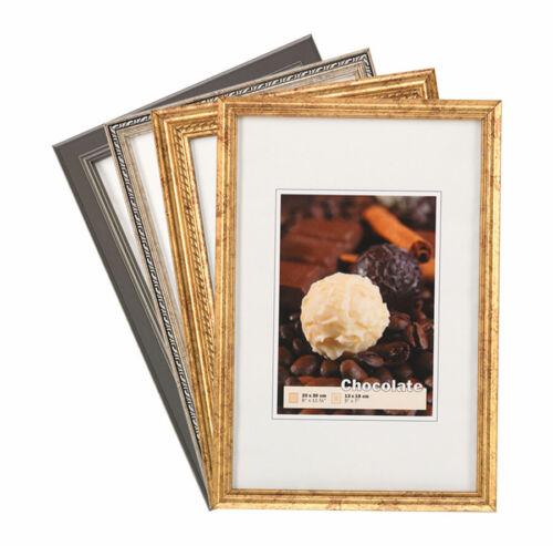 Chocolate Kunststoff Bilderrahmen 10x15 bis 20x30 Klassisch Barock Foto Rahmen