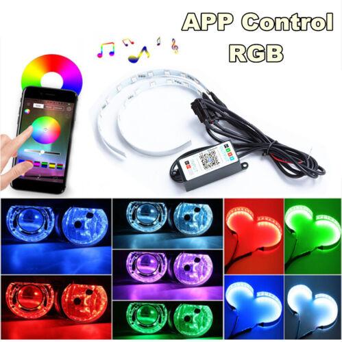 2X 15Color RGB App Remote Control Projector Headlamp Angles eye flash Adjustable