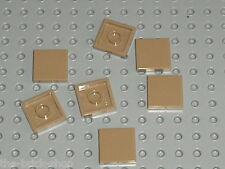 Lot 7 tiles DkTan 2 x 2 ref 3068b LEGO / set 7660 7623 7621 10184 10197 7627 ...