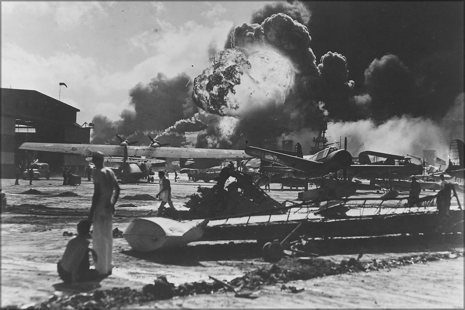Poster, Many Größes; Naval Air Station At Pearl Harbor Following Japanese Attack