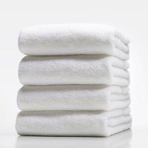 SET-OF-4-NEW-WHITE-HOSPITALITY-100-COTTON-THICK-HOTEL-QUALITY-BATH-TOWEL