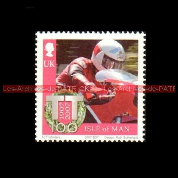 HISLOP Steve TT Tourist Trophy Isle of MAN 1907 - 2007 : Timbre Poste Moto Stamp