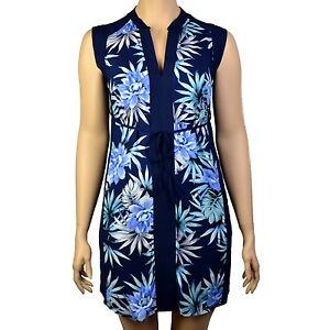 PLUS-SIZE-BLUE-FLORAL-LEAF-CAP-SLEEVE-TIE-WAIST-TUNIC-DRESS-UK-Sizes-16-26