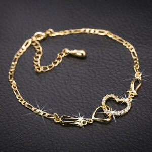 Wedding-18K-Yellow-White-Rose-Gold-Filled-Gemstone-Chain-Ankle-Bracelet-Cuff-New