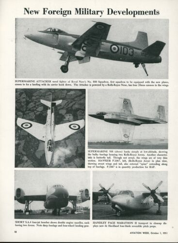 1951 Aviation Article Supermarine Attacker + 508 + Hawker P.1067 + Short S.A.4
