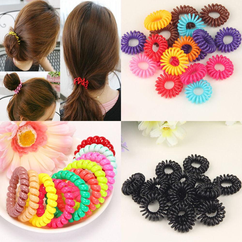 5Pcs New Hair Bands Elastic Bracelet Hair Ties Spiral Slinky Rubber ... 84cc4e5fd02