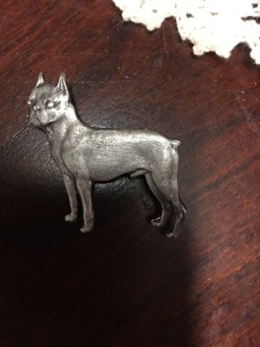 Vintage 1970s SILVER PLATED BOSTON TERRIER Dog brooch,PIN