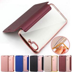 Custodia-Flip-pelle-libro-protettivo-TPU-trasparente-Case-Cover-per-iPhone-7-8-X