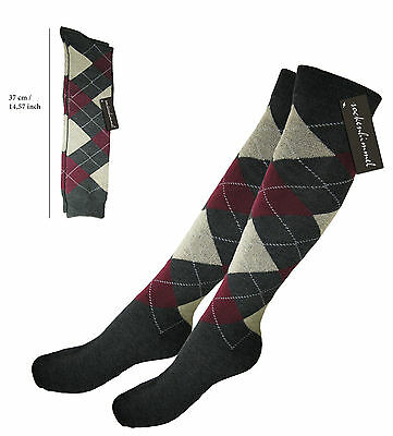Womens Riding Socks - Argyle Knee High Socks - 6 Pairs! 95% Cotton Size: 4.5 - 8