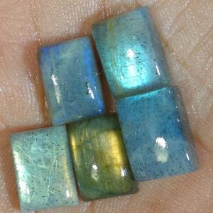 Best-Price-100-Natural-Blue-Fire-Labradorite-Cushion-Cab-Gemstone-5-Pcs-Lot