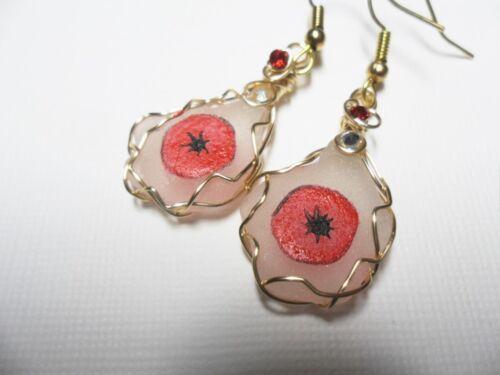 Poppy flower dangle earrings hand painted english sea glass silver ear wires