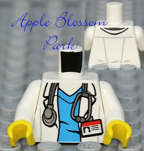 NEW Lego Minifig White Shirt DOCTOR TORSO Blue Scrubs Hospital Nurse Lab Coat ID