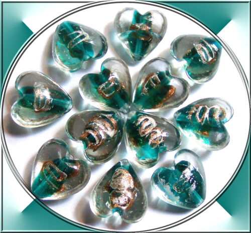 4 handmade Lampwork Glasperlen Herzen türkis grün 20 mm Fädelloch ca 1,5 mm