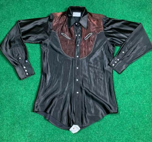 VTG ROCKMOUNT RANCH WEAR WESTERN SATIN BLACK RHINE