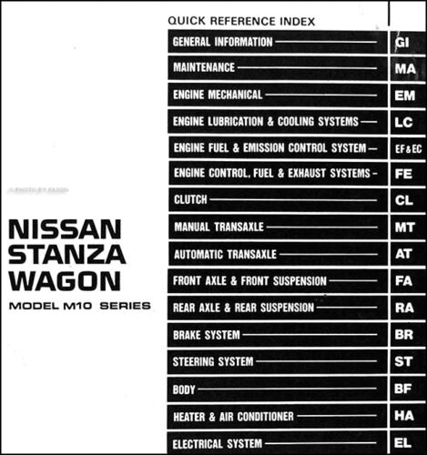 1986 Nissan Stanza Wagon Shop Manual 86 Original Repair Service Book OEM