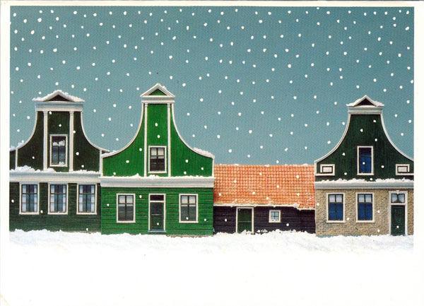 Folding postcard WINTER STREET SCENE in ZAANSE SCHANS by Jerry Harberink