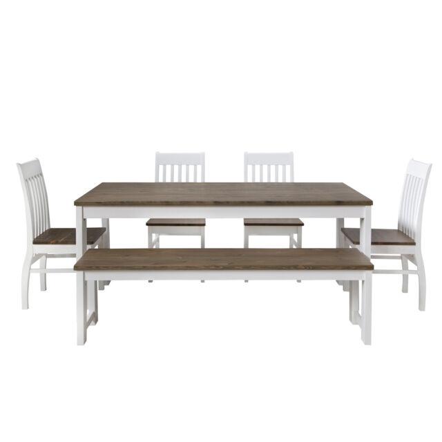 Essgruppe Sitzgruppe Bank Tisch Stühle Braun Esszimmertisch 90x180cm Homestyle4u