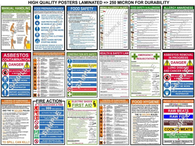 HEALTH SAFETY A3 POSTERS FIRST AID COSHH CLP FIRE FOOD ALLERGY CONSTRUCTION