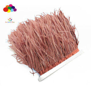 Good-1-5-10-meter-Red-coffee-Ostrich-Feathers-8-15cm-3-6-inch-Fringe-Ribbon-Trim