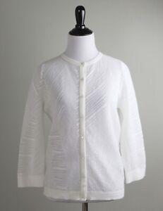 ESCADA $850 Textured Stretch Knit Semi Sheer Cardigan Sweater Top Size Small