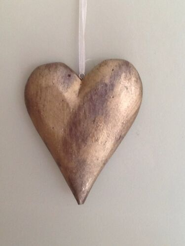 Lovely Gold Wooden Hanging Heart a special present for the one you love!