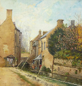 Watercolour-Original-Style-Impressionism-Houses-at-the-Edge-of-the-River