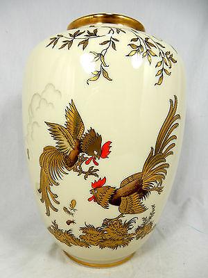 "Rich by hand decorated Jacob Hertel "" Hahnenkampf "" porcelain vase 779 1"