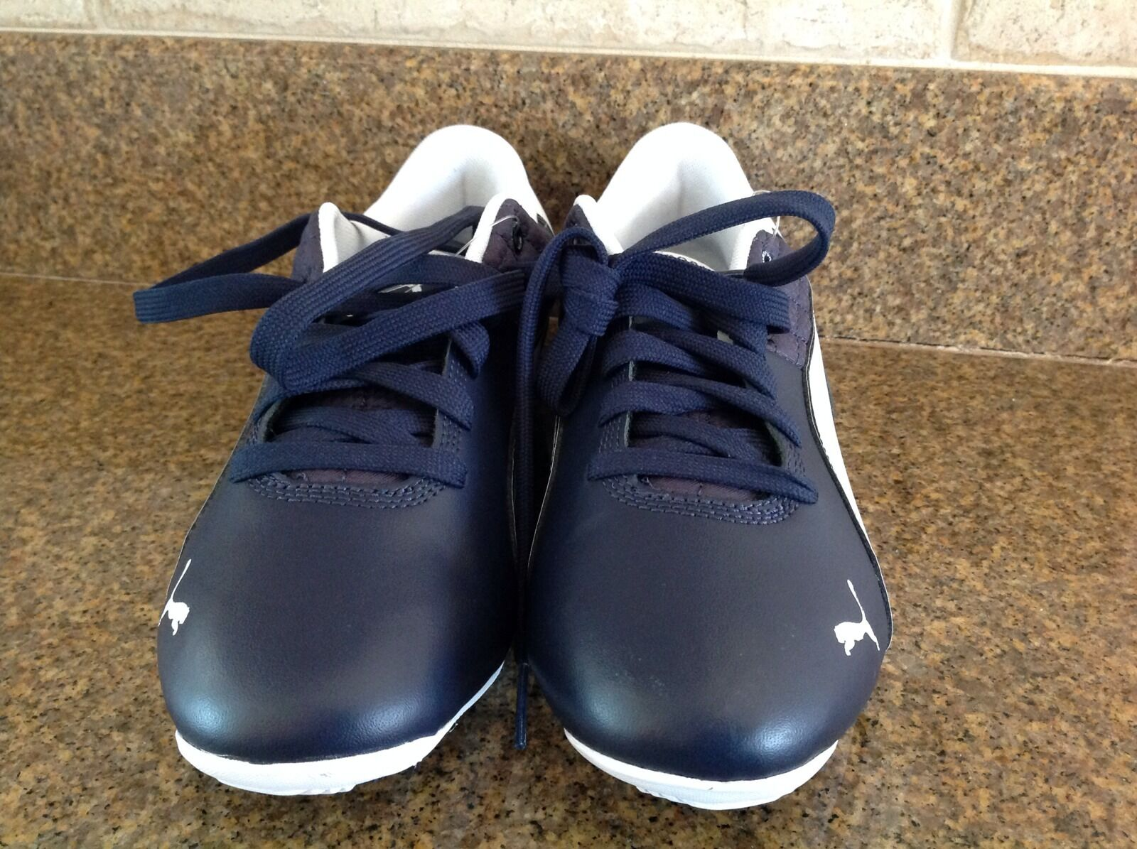 Scarpe casual da uomo Puma uomos Drift Cat 6 Peacoat/White/Navy Blue Leather Motorsport Sneakers US S.7