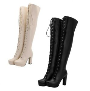Details about  /Womens Knee High Block Heel Boots Ladies Square Toe Calf Stretch Shoes 44//48 D