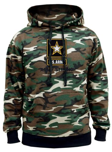New Men/'s Center US Army Strong Camo Hoodie Sweater Military USA Pride American