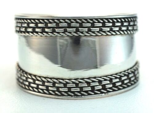 Superbe Bali Cigar Band Ring Sterling .925 également demi-tailles 5,6,7,8,9,10,11,12,