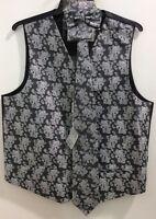 Men's Daniel Ellissa Black Color Paisley Vest Necktie Bow Tie Hankie Set
