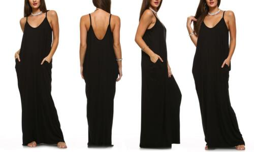 Isaac Liev Women/'s Casual Gauze Maxi Dress Oversized Pockets Black XL 1XL