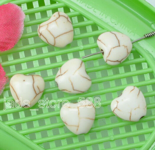 60pcs Turquoise white  heart Loose Beads Jewelry Charm beads 12mm