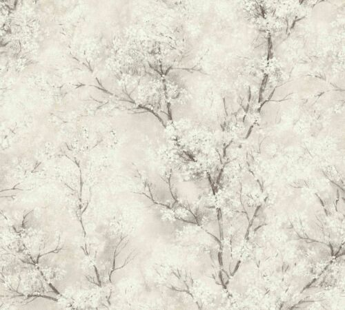 3,37£//1qm Non-woven wallpaper blossom tendrils cream white brown 37420-2