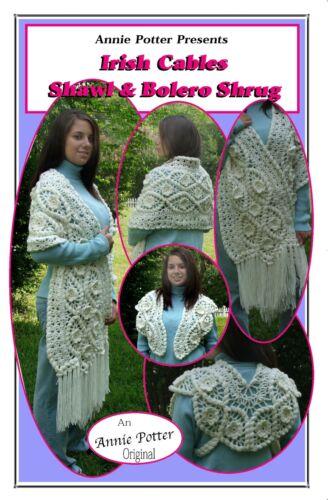 """Irish crochet shawl /""""Irish Cables Shawl and Bolero Shrug/"""""""